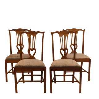 Set of 4 Walnut Provincial Side Chairs