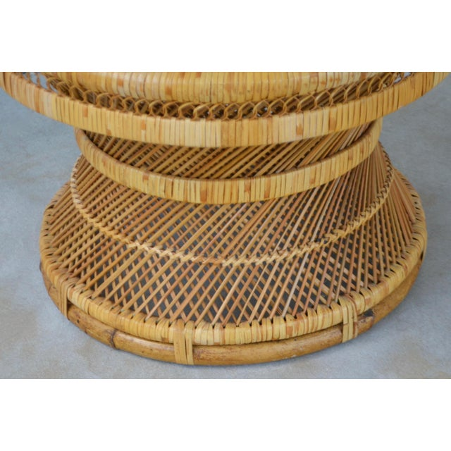 Tan Mid-Century Woven Rattan Stool For Sale - Image 8 of 10