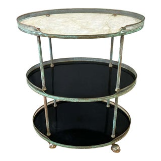 Tall Italian Copper and Marble Oval Three-Tier Bar or Serving Cart, 1950s For Sale