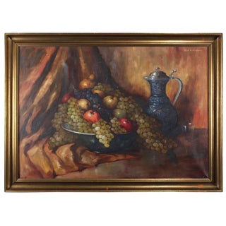 Italian Oil on Canvas Fruit Still Life Painting by Carl Gisehino, 20th Century For Sale