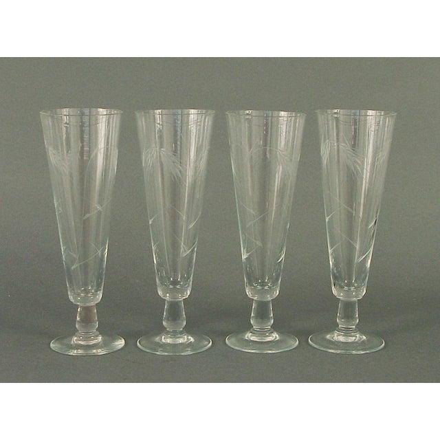 Art Deco 1930s Wheel-Cut Beer/Pilsner Glasses- Set of 4 For Sale - Image 3 of 3