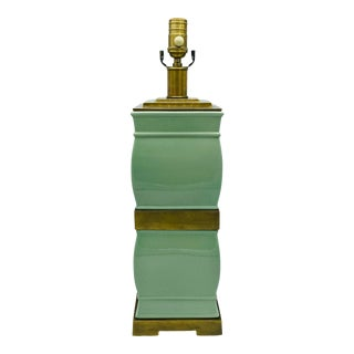 Visual Comfort Celadon and Brass Ming Style Lamp For Sale