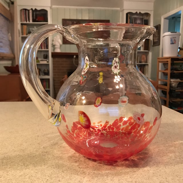 Clear Multicolor Hand Blown Art Glass Pitcher For Sale - Image 5 of 11