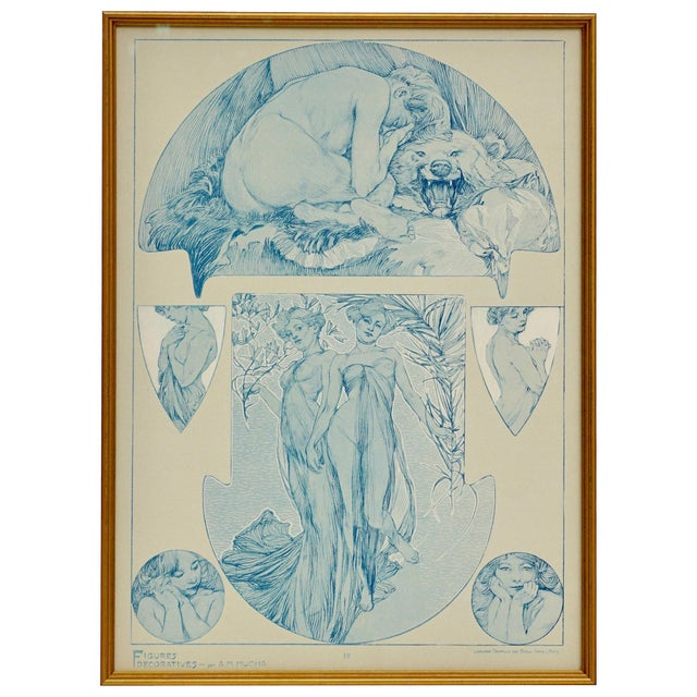 A framed Art Nouveau collotype by Alphone Mucha from 1905 representing the artist's sketches of nudes, women and beautiful...