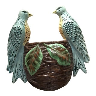 Duran's Royal Calif. Mid Century Birds With Nest Pocket/Wall Vase For Sale