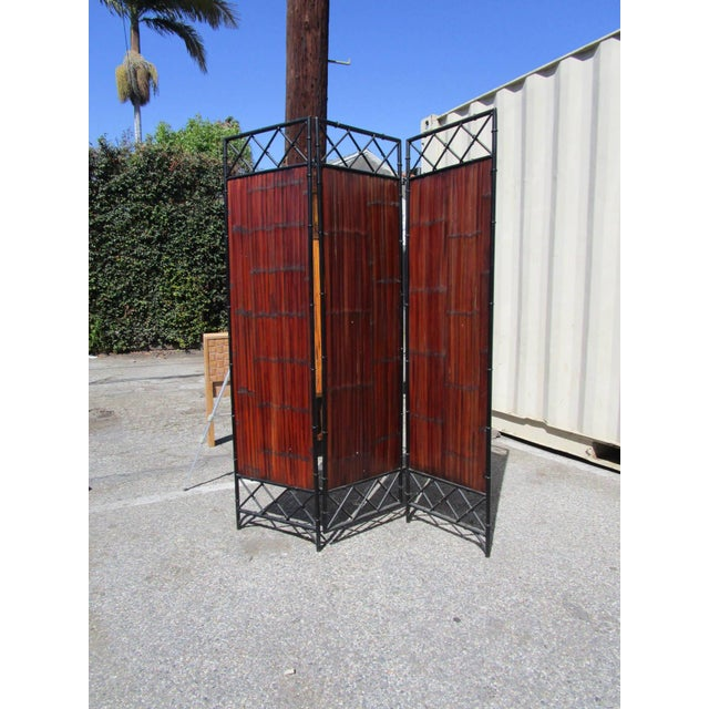 Sturdy 3 Panel Wrought Iron and Bamboo Slat Screen. Mahogany Finish on Bamboo Slats