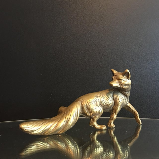 Gorgeous mid-century brass fox/vixen figurine, from the 1950s- 1960s. Solid brass. It has beautiful textured detail. A...