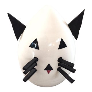 Egg Head Cat Sculpture From Sicily