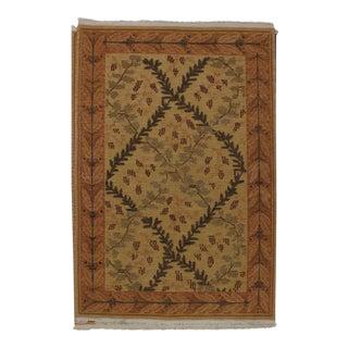 Soumak Design Hand Woven Wool Rug - 6' X 9' For Sale
