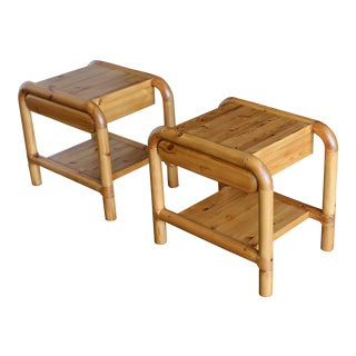 1960s Danish Modern Pine Nightstands - a Pair For Sale