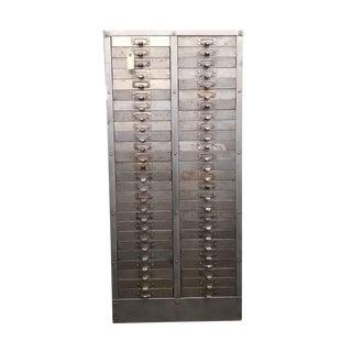 Antique Steel File Drawer Cabinet For Sale