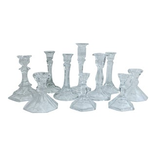 Fine Crystal Candlesticks, Set of 10 For Sale