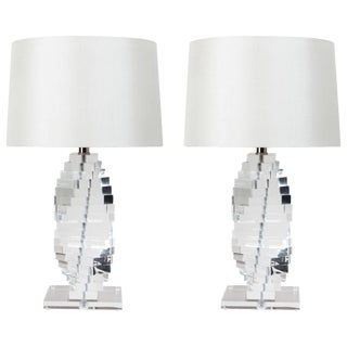 Mid-Century Lucite Table Lamps - a Pair For Sale