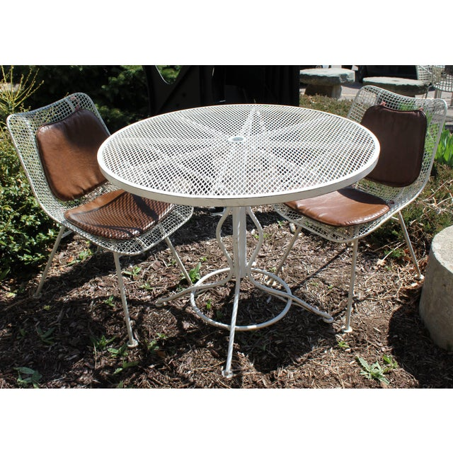 Mid-Century Modern Mid-Century Modern Woodard Sculptura Patio Table Set Two Chairs White Iron For Sale - Image 3 of 7