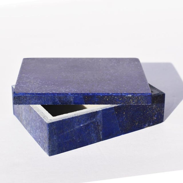 Blue Lapis Lazuli and Marble Stone Rectangular Decorative Jewelry or Trinket Box For Sale - Image 4 of 7