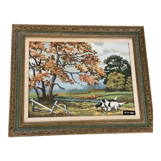Midcentury 1967 Framed Painting, Dogs in Nature For Sale