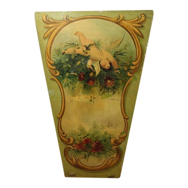1930's Vintage Decorative Carnival Ride Hand-Painted Wood Panel For Sale