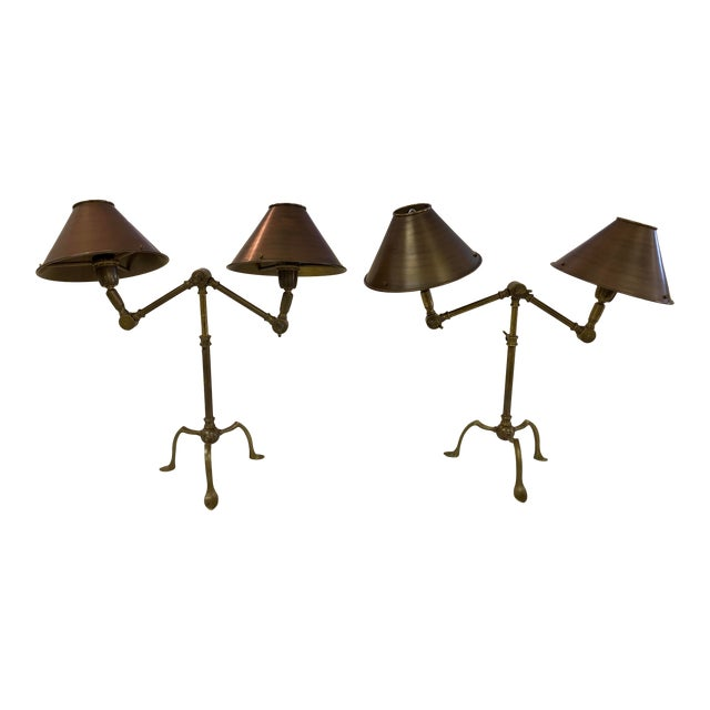 Ferrante Articulating Table Lamps With Shades - a Pair For Sale
