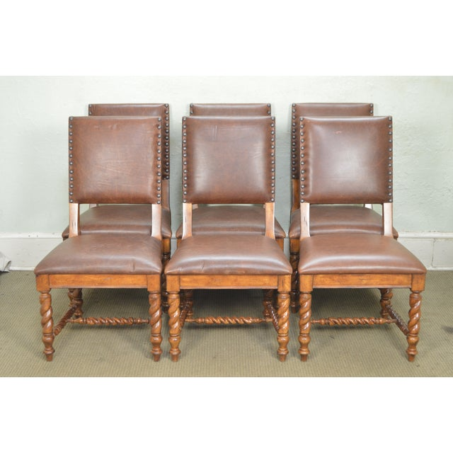 Stanley Barley Twist Brown Leather Dining Chairs - Set of 6 For Sale - Image 11 of 13