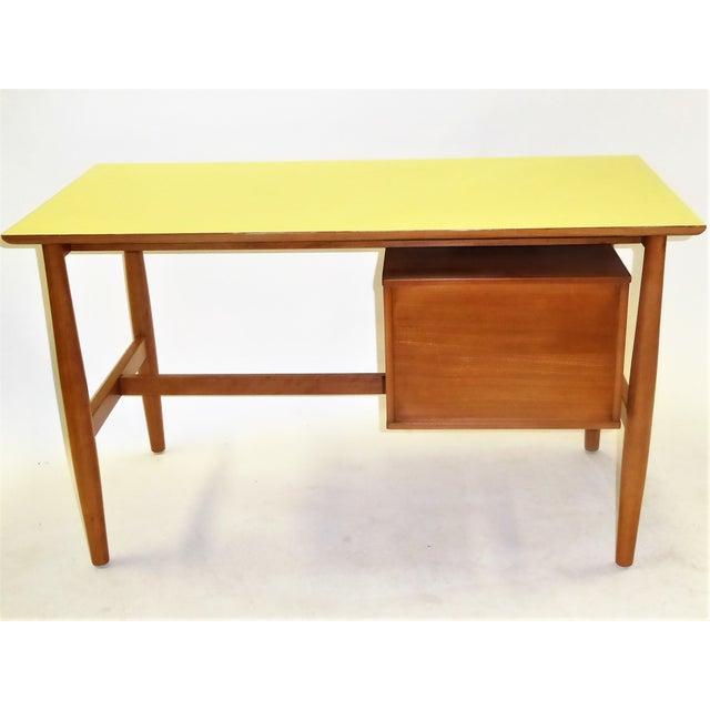 Danish Modern 1950s Mid-Century Modern Blond Elm Writing Desk by Milo Baughman for Drexel For Sale - Image 3 of 13