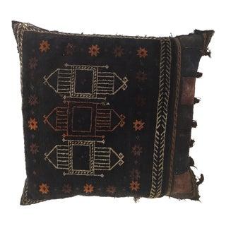 1880s Handwoven Afghan Baluch Saddle Tribal Bag, Large Floor Pillow For Sale