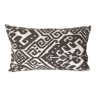 Brown & White Ikat Linen Pillow-Feather Insert For Sale