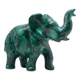 Malachite Elephant Carving For Sale