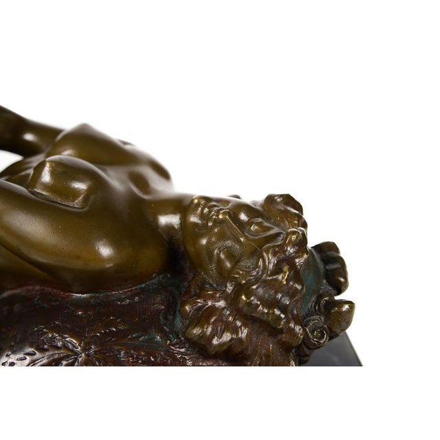 Art Nouveau Vintage Bronze Reclining Pin Up Girl Sculpture For Sale - Image 3 of 10