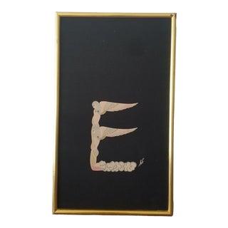 """Vintage Erte Alphabet Suite """"E"""" Silk Scarf, Framed For Sale"""