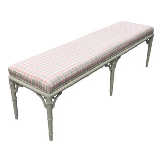 Chinese Chippendale Faux Bamboo Bench