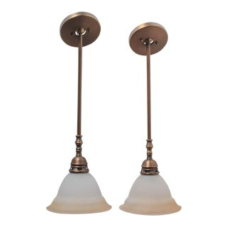 A Pair of Brass and Smoked Glass Bar Lamp Ceiling Pendants For Sale