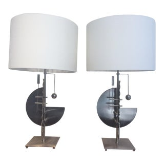 Memphis Style Geometric Table Lamps - A Pair For Sale
