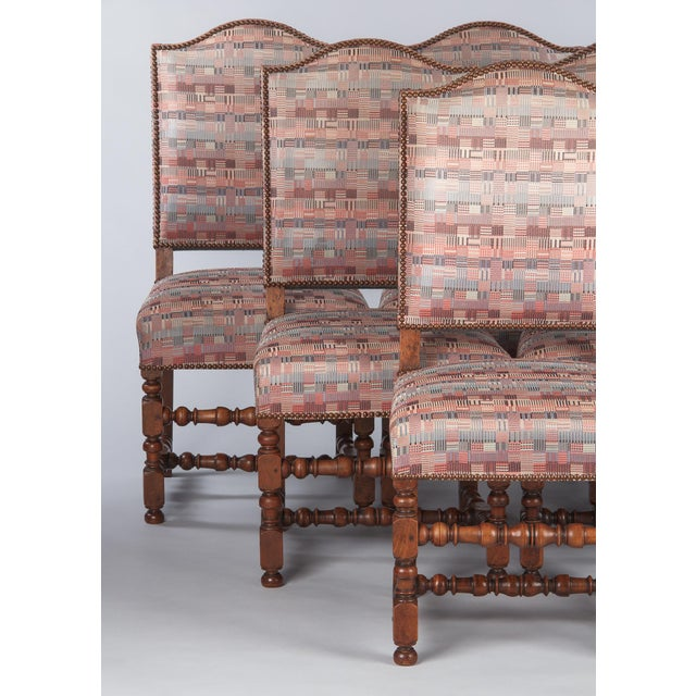 French 1920s Louis XIII Style Upholstered Walnut Chairs - Set of 6 For Sale - Image 3 of 13