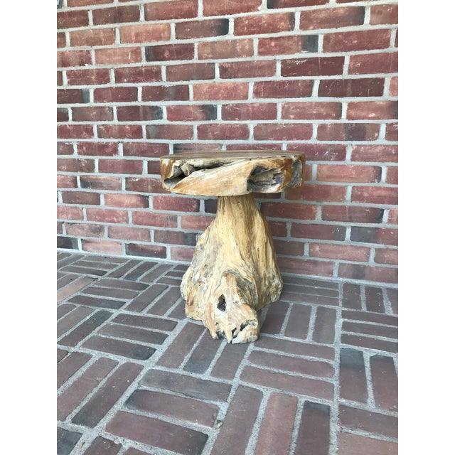 Rustic Tribal Style Teak Accent Table/Stool For Sale - Image 4 of 9