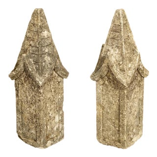Pair of Small French Gothic Style Limestone Finials For Sale