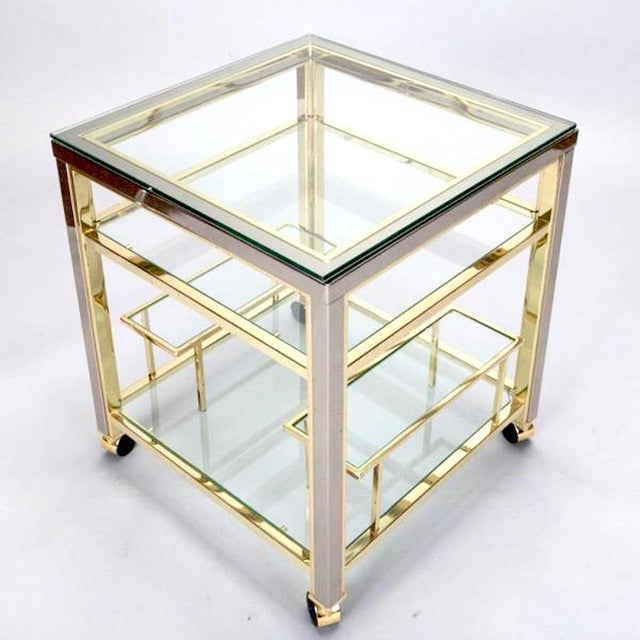 Mid-Century Modern Brass and Glass Trolley Table Gold Bar Cart - Image 2 of 4