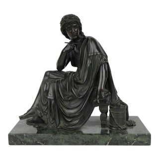 19th Century Signed Patinated Bronze Statue of Virgil For Sale