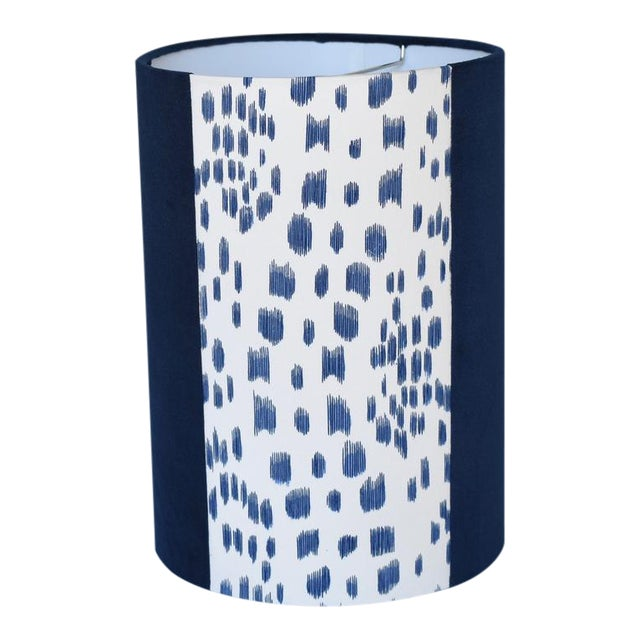 Blue Les Touches Velvet Drum Lampshade For Sale