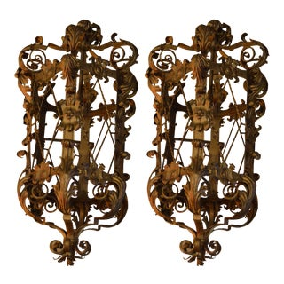 Antique Gold Wrought Iron Acanthus Leaf French Baroque Lanterns - Pair For Sale