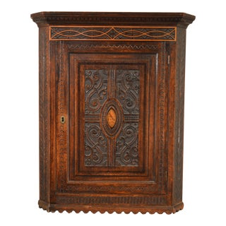18th Century English Hanging Corner Cupboard For Sale