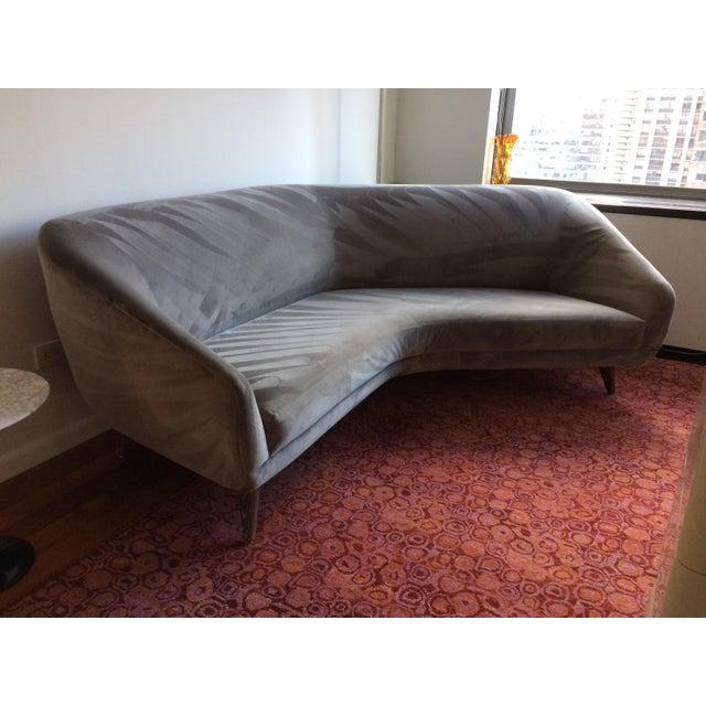 Vladimir Kagan for Weiman Gray Velvet Angled Sofa - Image 3 of 8