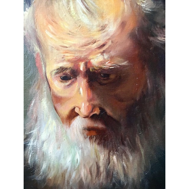 """Rembrandt Lamp Company Vintage Rennaisance Baroque Replica Rembrandt """"Head of an Old Man in a Cap"""" Oil Painting For Sale - Image 4 of 8"""