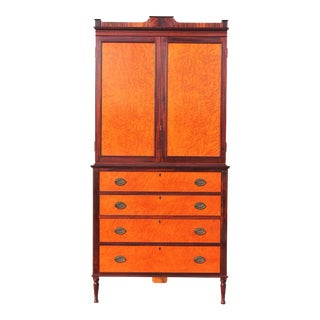 Hand Crafted Federal Linen Press Corner Cabinet For Sale