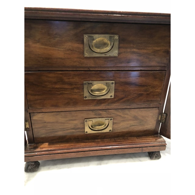 19th Century Mahogany Man's Jewelry Case For Sale - Image 4 of 10