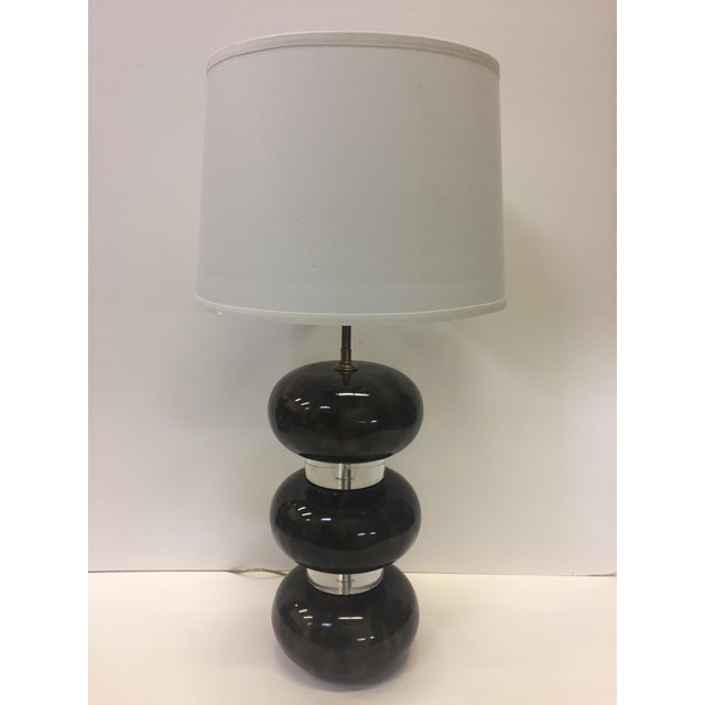 Karl Springer Lacquered Wood and Lucite Table Lamp For Sale - Image 12 of 12