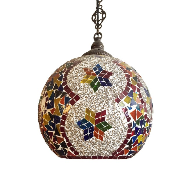 Turkish Mosaic Ceiling Round Lamp For Sale - Image 9 of 10