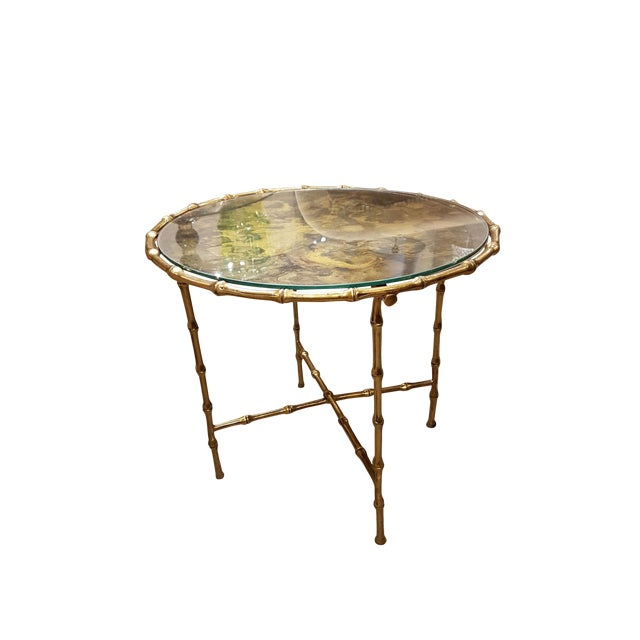 French Faux Bamboo Brass Mid Century Modern Side Table, C 1960s For Sale