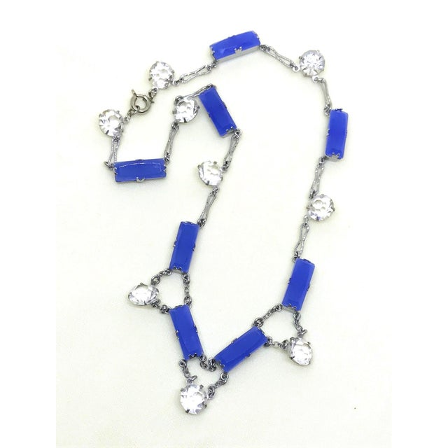 Art Deco Deco Era Chalcedony Glass and Crystal Choker Length Necklace For Sale - Image 3 of 6