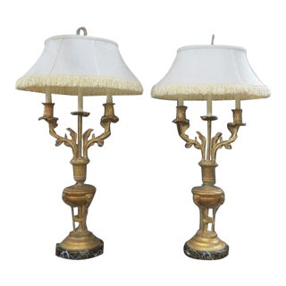 Vintage Frederick Cooper Brass Lamps & Shades - a Pair