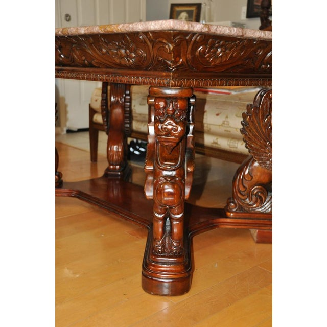 Vintage Renaissance Style Wood Carved Winged Griffin Table and Pink Granite Top For Sale In San Francisco - Image 6 of 13